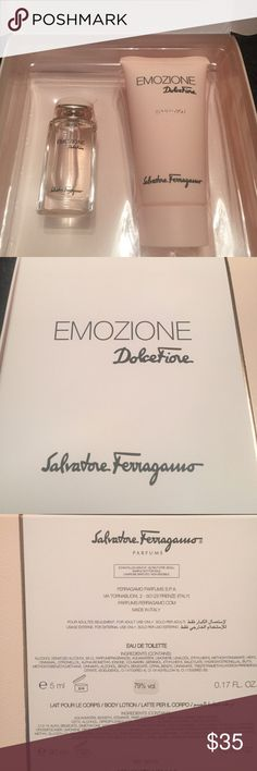 Salvatore ferragamo dolce Fiore fragrance set NWT brand new. Never opened or used. Buy 4 get 30 percent off you bundle :). Happy shopping Poshers :). Offers welcome !! Salvatore Ferragamo Makeup