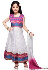 White Art Dupion Silk and Net Readymade Anarkali Churidar Kameez