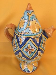 Excited to share this item from my shop: Malandrino pitcher of Arabic origin design with yellow and blue decoration, ceramic, height 25 cm, Salvatore Gurreri manufacture, Retro Crafts, Ceramic Pitcher, Italian Artist, Antique Photos, Ceramic Painting, Gold Paint, Pottery, Sicily Italy, The Originals