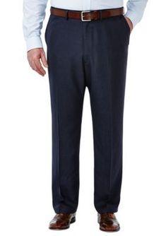 Haggar Men's Big & Tall Travel Performance Classic Fit Tic Weave Suit Pants - Blue - 58 X 32 Mens Stretch Pants, Stretch Dress Pants, Mens Dress Pants, Suit Pants, Dress Slacks, Pleated Pants, Men Dress, Mens Big And Tall, Big & Tall