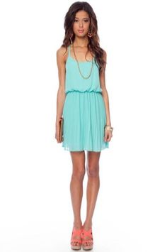 sea-foam dress   earrings and wedges
