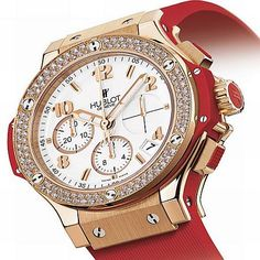 Hublot red and gold with diamonds