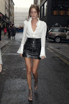 8efc614dca7 Millie Mackintosh attends Sure 'Black and White' event White Ruffle Blouse,  Monochrome Color