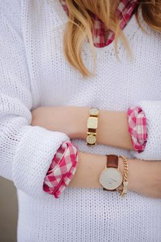 White sweater and pink plaid, dressed up with some jewelry