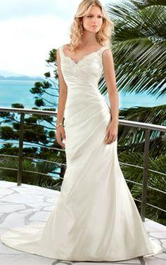 Kapelle Schleppe Seite drapiertes natürliche Taile ärmellos Brautkleid mit Herz-Ausschnitt