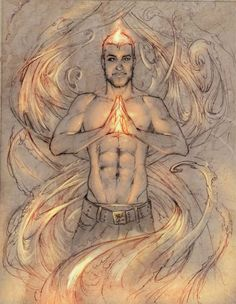 Vincent and the fire II by elGuaricho on DeviantArt Ars Magica, Cartoon Male, Male Figure, Gay Art, Fantasy World, Art Drawings, Eye Candy, Fire, Deviantart