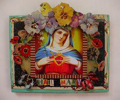 Recycled Tin Art/ Hail Mary. via Etsy.