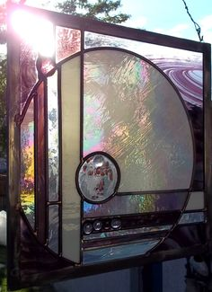 Stained Glass Window Panel  Pale Moon  Abstract Stained by rneely, $159.00
