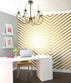 Divine Decor: Create A Stylish #Home Office w/ chevron & gold metallic