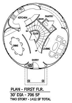 Round House Plans   Round House with Elliptical Rooms