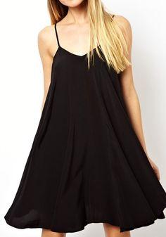 Black Plain Cross Back Draped Loose Polyester Dress