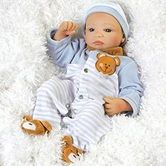 Paradise Galleries Newborn Baby Doll, Teddy Bear Twin Aidan, 16″ GentleTouch Vinyl & Weighted Body