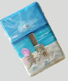 Coastal Beach Decor Hand Painted Decorative Light Switch Covers Personalized Beach Chairs Blue Coastal Waters Nautical Loft Cottage Lighting
