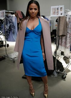Christina Milian - Nolcha New York Fashion Week Fall Winter Christina Milian, Kelly Rowland, Fall Winter 2015, Blue Dresses, Fur Coat, Cold Shoulder Dress, Poses, Beauty, Black