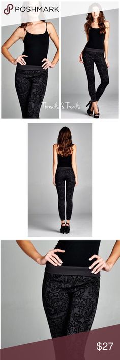 "Baroque Velvet Print Leggings Stylish Unique baroque velvet print leggings. High waisted tummy tuck design. Color charcoal. Made of a poly/spandex blend. Size S/M, M/L 27"" inseam Threads & Trends Pants Leggings"