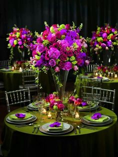 Green, pink and purple decor for a festive wedding (enchanted forest or garden wedding) or event