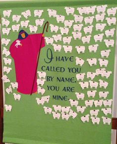 Baptism Banner in a  Lutheran Church- Lambs added with each new baptism- name and date- used with the push pin with back to hold- simple to add