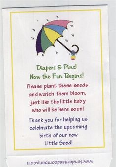 Baby Shower Favor Seed Packet