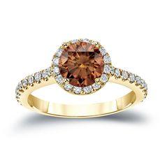 Auriya 14k Gold 1 1/3ct TDW Round Cut Brown Diamond Halo Engagement Ring (Brown, SI2-SI3) (Rose Gold - Size 5.5), Women's, Pink