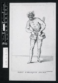 Harlequin, standing with hands in belt, and slightly leaning to l; with hat, mask, and costume decorated with lozenges; on white ground; illustration to Riccoboni's 'Histoire du théâtre italien' (Paris: Cailleau, 1731). c.1731 Etching and engraving