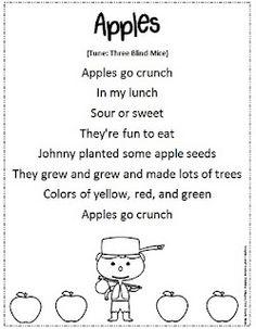 "Johnny Appleseed Song/Poem (Tune: ""Three Blind Mice"")o Preschool Apple Theme, Apple Activities, Fall Preschool, Preschool Songs, September Preschool, September Activities, Preschool Apples, Kindergarten Crafts, Autumn Activities"