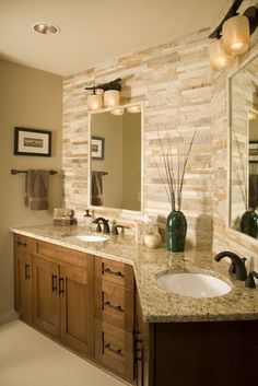 Love the stone walls & counter tops