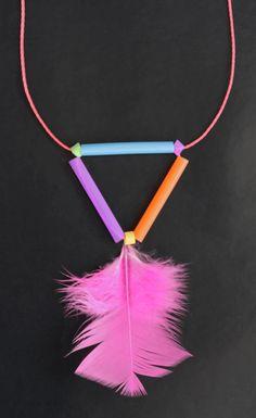 kids easy feather-geometric straw necklace