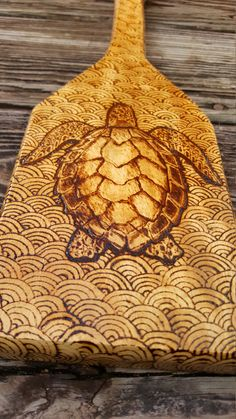 "Sea turtle paddle wood burning  15"" by NeptuneMoonVa on Etsy"