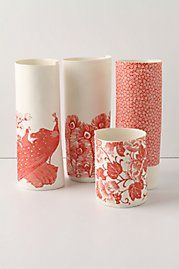 pretty accent pieces - in living room?  Modge podge fabric or paper onto vases or candle holders