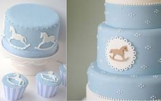 rocking horse cake via When Mina Creates blog left, cake right via The Pretty Blog (image by Nisha Ravji Photography)