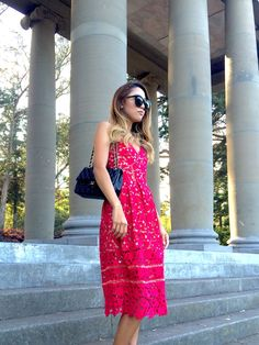 Beyond Basic Blog Lady in Red- Self Portrait Azaelea Midi Dress Chanel