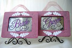 Wedding Signage Antiqued Mirror Set in Lavender by BusterJustis, $64.00