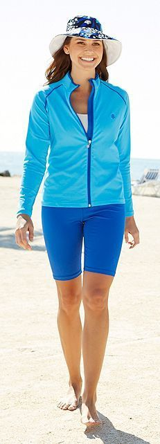 Coolibar long sleeve swim & sport jacket rash guard with swim bucket hat and swim shorts all upf50+