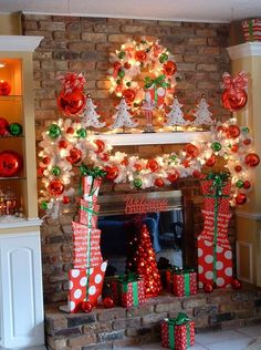 2013 Christmas Fireplace decor, colorful Christmas decor #2013 #christmas #mantel #decor #ideas www.loveitsomuch.com