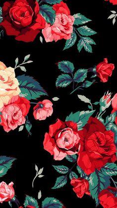 Roses prints on black background walpaper phone, floral wallpaper phone, iphone wallpaper art, Tumblr Wallpaper, Flower Wallpaper, Mobile Wallpaper, Pattern Wallpaper, Wallpaper Backgrounds, Iphone Wallpapers, Green Wallpaper, Trendy Wallpaper, Wallpaper Lockscreen