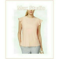 MAX STUDIO FEMININE, CHIC PEACH TOP MAX STUDIO PEACH MELON COLOR TOP This peachy melon color top with flutter type sleeves is a light weight, feminine and which top you can pair with any jeans or skirt. 51% Rayon/49% Nylon Size Medium Max Studio Tops Blouses