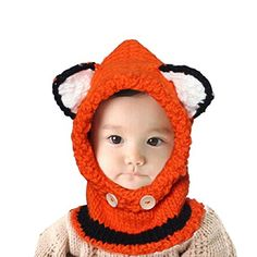 Sannysis Winter Wool Knitted Cat Baby Girls Shawls Hooded Cowl Beanie Caps (N3)
