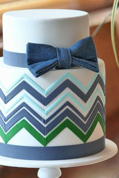 Couture Cupcakes & Cookies: Daniel's Christening cake #chevron #male