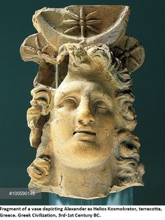 Fragment of vase depicting Alexander the Great as Helios Kosmokrator, terracotta, Greece, Greek Civilization, 3rd-1st Century BC