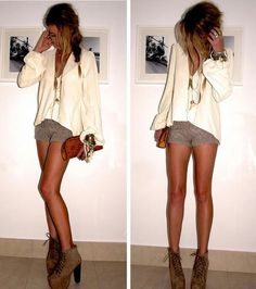 cream long sleeve blouse || grey shorts || suede lace-up booties || ox-blood clutch