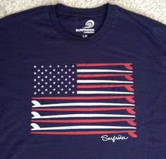 Surfrider/Tailgate AMERICAN FLAG SURFBOARDS T-SHIRT Navy-Blue USA Surf MENS LRG #Tailgate #GraphicTee