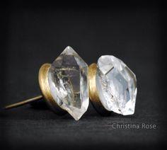RAW HERKIMER DIAMOND Studs, Natural Diamond Earrings Bronze Bezel Studs by ChristinaRoseJewelry on Etsy https://www.etsy.com/listing/180971927/raw-herkimer-diamond-studs-natural
