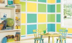 fetching home daycare setup ideas. fetching fresh colors kids room paint ideas with checkerboard pattern  wallpaper and simple shelves amusing table chair for dining spaces Minimalist Daycare Designs design Modern