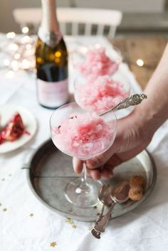Pink Champagne Granita with Pomegranate