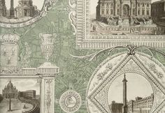Vues d'Italie Wallpaper Pictorial wallpaper showing framed monuments in Italy with aerial street map in the background, in white and brown on mint green background.