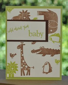 Baby card, wild about you, animals