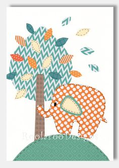 Elephant Nursery Decor Chevron Boys Wall Art by RoolarooDesigns, $13.50