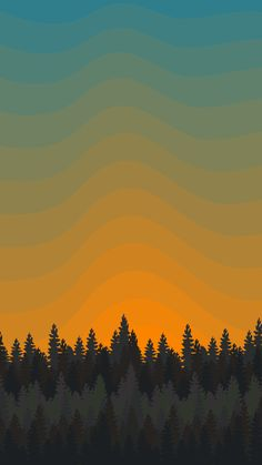 Simple forest sunset