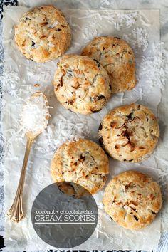 Coconut and chocolate chip cream scones