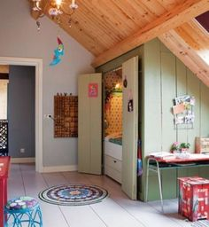 Awesome attic kids room with an alcove bed